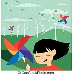 vert, énergie, sauver, -, la terre
