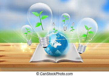 vert, énergie, symbol.nature, concept
