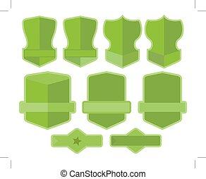 vert, étiquettes, ensemble