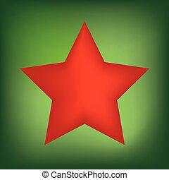 vert, étoile, noël, fond, rouges