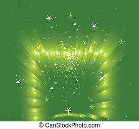 vert, étoiles, fond