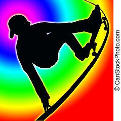 vert, 色, タラップ, 背中, skateboarding, 円, グラブ