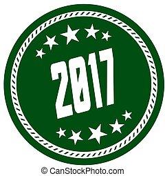 vert, 5, étoile, timbre, à, 2017, .