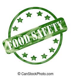 vert, a mûri, sûreté nourriture, timbre, cercle, et, étoiles