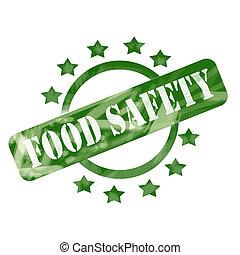 vert, a mûri, sûreté nourriture, timbre, cercle, et, étoiles, conception