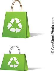 vert, achats, vente, sacs