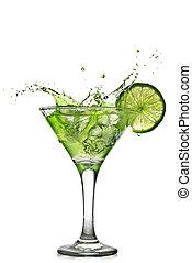 vert, alcool, cocktail, à, éclaboussure, et, vert, chaux, isolé, blanc