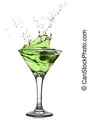 vert, alcool, cocktail, à, éclaboussure, isolé, blanc