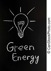 vert, ampoule, énergie, lumière