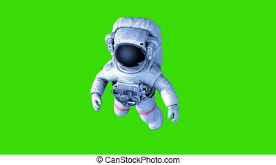 vert, astronaute, fond