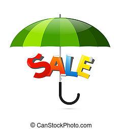 vert, autocollant, parapluie, vente, illustration