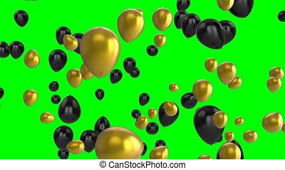vert, ballons, écran
