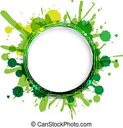 vert, ballons, gouttes, dialogue