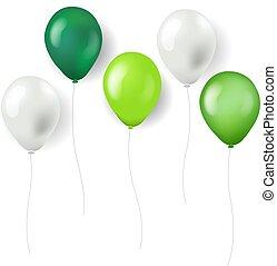 vert, ballons, isolé