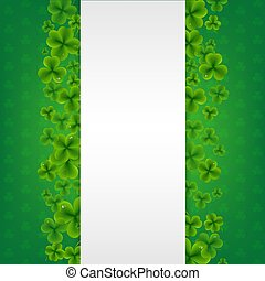 vert, bannière, fond, trèfles