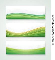 vert, bannière, paysage