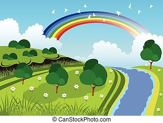 vert, beauté, paysage
