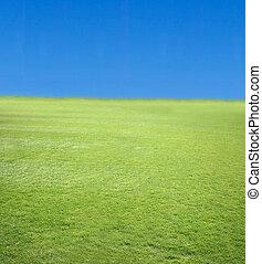 vert bleu, 2, ciel, herbe