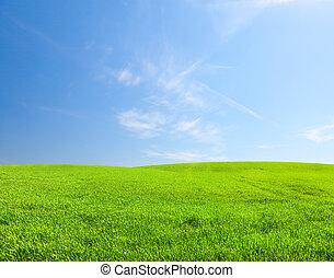 vert bleu, ciel, colline, sous