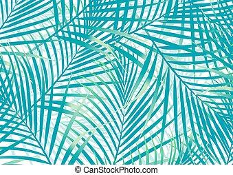 vert bleu, feuilles, paume, fond