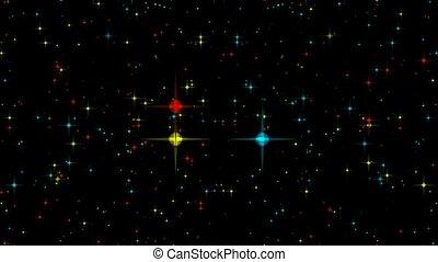 vert bleu, rouges, étoiles