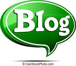vert, blog, bulle discours