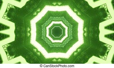 vert, boucle, étoile, rendre, néon, 3d, vj