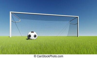 vert, boule football, herbe, portail