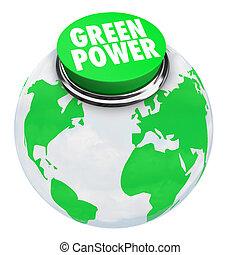 vert, bouton, -, puissance, la terre