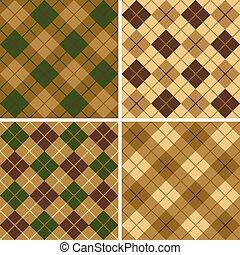 vert-brun, modèle, argyle-plaid