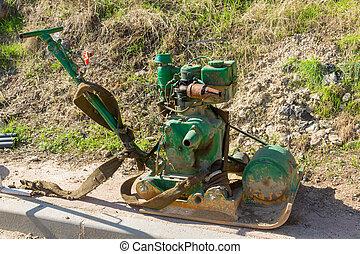 vert, bulldozer, construction, vieux, site