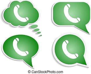 vert, bulle, penser, téléphonez icône