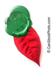 vert, cachet, feuille, rouges, cire