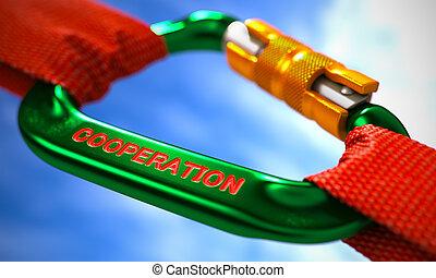 vert, carabiner, crochet, à, texte, cooperation.