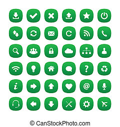 vert, carrée, arrondi, icônes