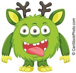 vert, cerf, monstre, corne