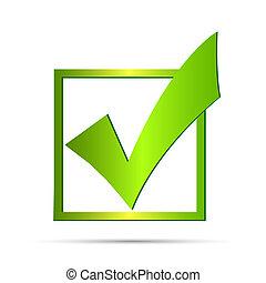 vert, chèque, illustration, marque
