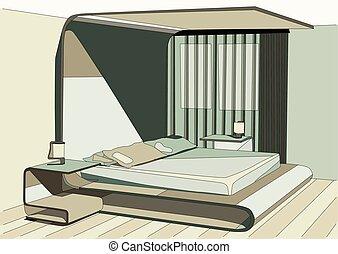 vert, chambre à coucher