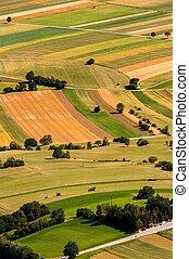 vert, champs, vue aérienne, avant, récolte