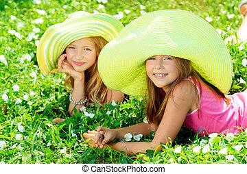 vert, chapeaux