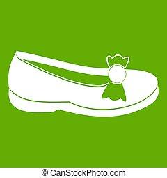 vert, chaussure, icône
