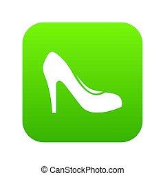 vert, chaussure, numérique, talons, icône, femmes