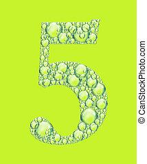 vert, cinq, bulles