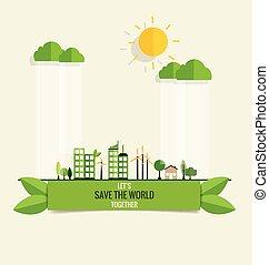 vert, city., vecteur, illustration.