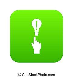 vert clair, doigt, numérique, ampoule, indicateur, icône