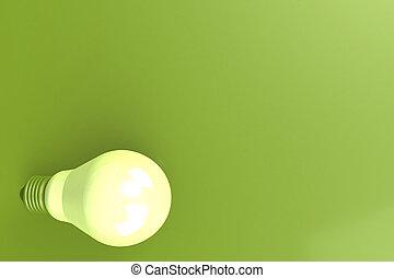 vert clair, fond, ampoule