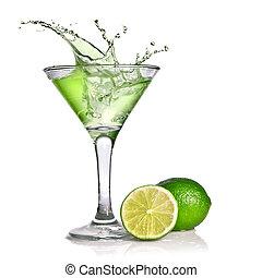 vert, cocktail, à, éclaboussure