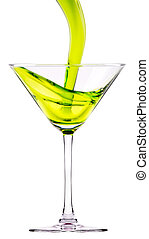 vert, cocktail, éclaboussure