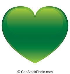 vert, coeur, -, vecteur