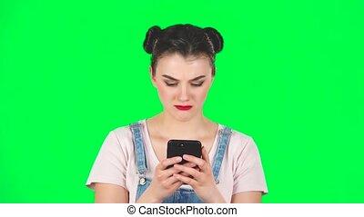 vert, colère, mouvement, téléphone, écran, texting, elle, girl, lent